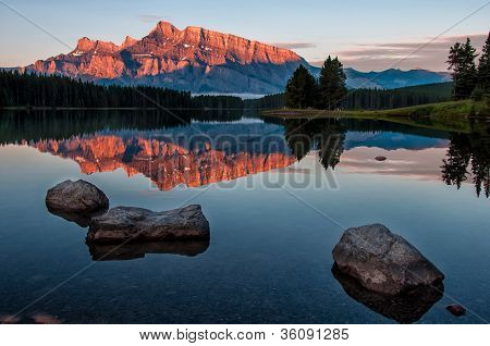 Mountain Reflection In Lake Minnewanka