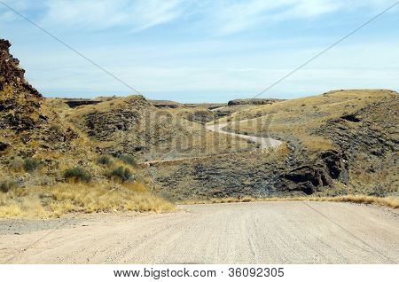 Gravel road in Namibia