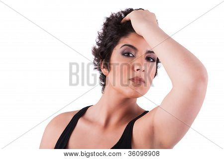 Beautiful And Strong Woman, Holding Their Hair, Looking To Camera, On White Background, Studio Shot