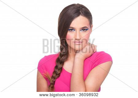 Beautiful Woman, With Hair Braid, Smiling To Camera, On White Background, Studio Shot