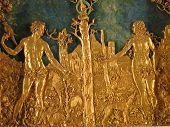 pic of adam eve  - beautiful golden ornament of Adam and Eve displayed in the museum in Munich - JPG