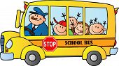 stock photo of bus driver  - School Bus With Happy Children Traveling To School - JPG