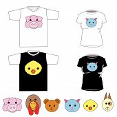 T-Shirts With Cute Animals Vector poster