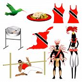 picture of steelpan  - Vector Illustration of 9 different Trinidad and Tobago Trini icons - JPG