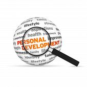 stock photo of self assessment  - Personal Development 3d Word Sphere with magnifying glass on white background - JPG