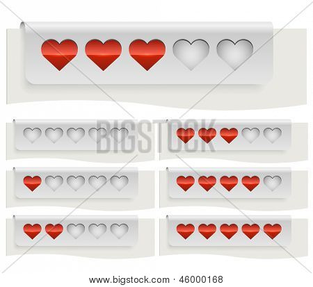Red hearts rating status bar template isolated on white background.