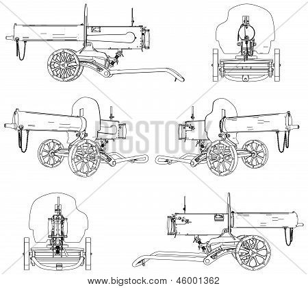 Machine Gun Maxim Vector 01.eps