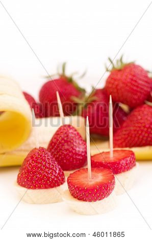 Strawberry and banana on a table