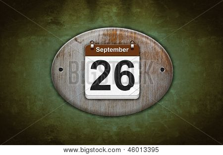 Old Wooden Calendar With September 26.