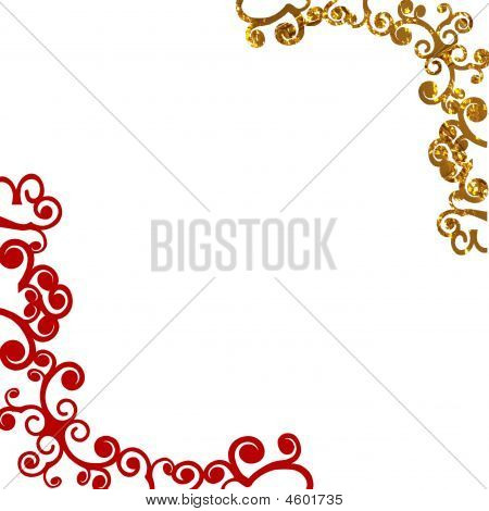 Gold Red Corners Background