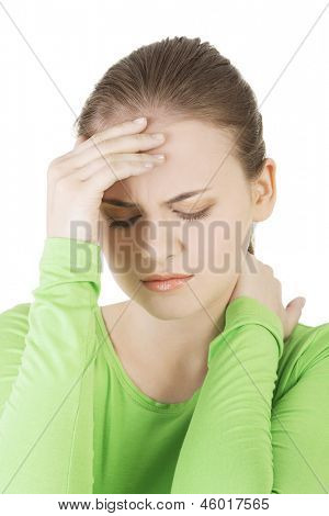 Young sad woman have big problem ,depression or headache , over white background