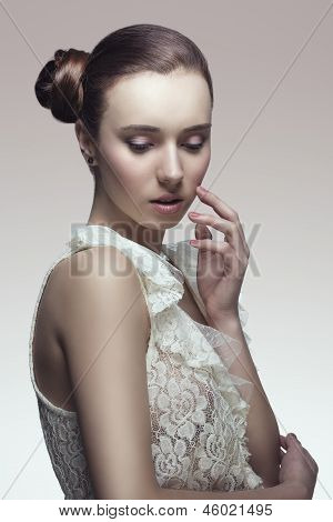 Elegant Woman With Later Chignon