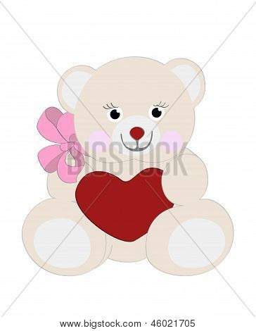 pink bear with heart and bow