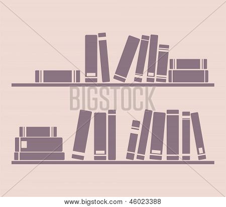 Books on the shelves simply retro vector illustration. Vintage objects for decorations