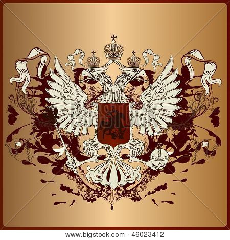 Heraldic Eagle With Armor, Banner, Crown And Ribbons In Royal Vintage Style