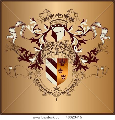 Heraldic Element With Armor, Banner, Crown And Ribbons In Royal Vintage Style