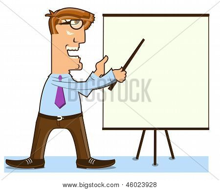 Office Man And Pointer Ner Presentation Board.vector Worker Isolated