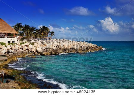 The sea coast in Xcaret park near Cozumel Mexico