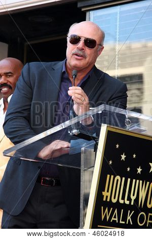 LOS ANGELES - MAY 13:  Dr. Phil McGraw at the Steve Harvey Hollywood Walk of Fame Star Ceremony at the W Hollywood Hotel  on May 13, 2013 in Los Angeles, CA