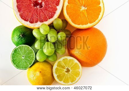 Fruit rainbow on white background