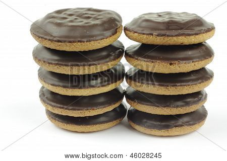 Close up of soft biscuit with choclate