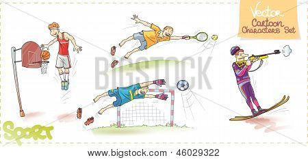 Vector Cartoon Characters Set: Sport