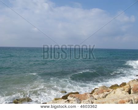 Beach Of Mediterranean Sea In Tel Aviv Israel