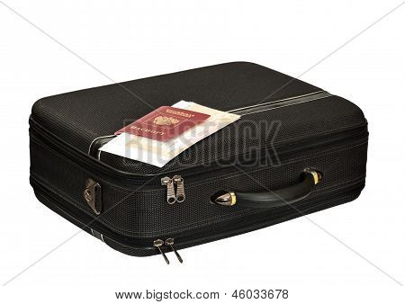suitcase with the passport and tickets