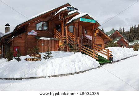 BUKOVEL, UKRAINE - FEBRUARY 23: Lounge bar in a wooden house at Bukovel, Ukraine on February 23, 2013. Bukovel is the most popular ski resort in Ukraine