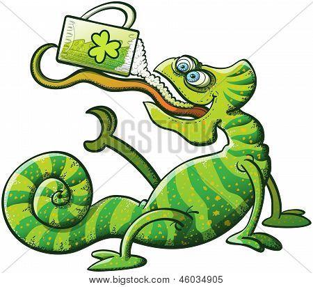 St Patrick's Day Chameleon Drinking Beer