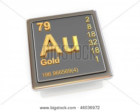Gold. Chemical element. 3d