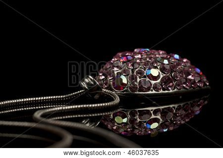 Diamond necklace isolated on black