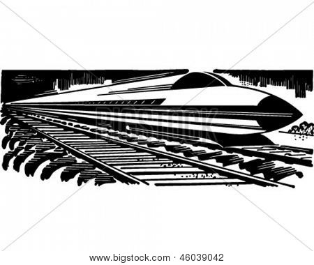 Bullet Train - Retro Clip Art Illustration