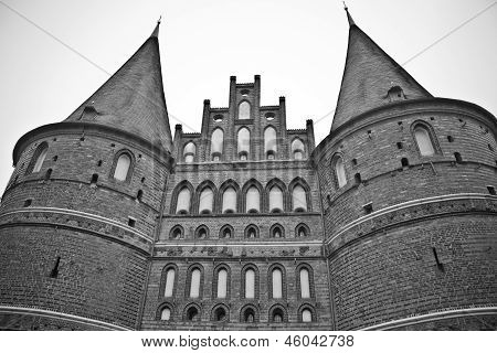 The Holstentor city gate in Lubeck