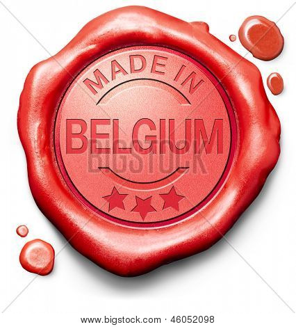 made in Belgium original product buy local buy authentic Belgian quality label red wax stamp seal