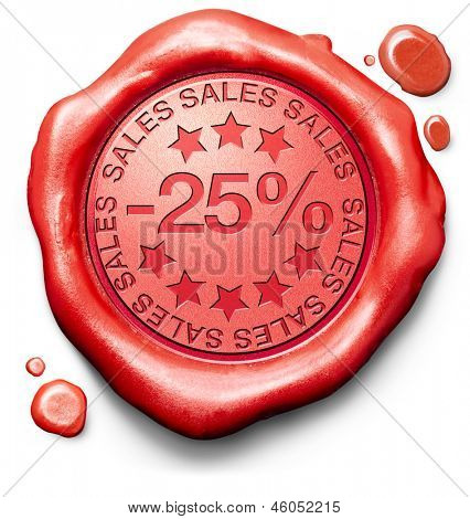 25% off sales summer or winter reduction extra low price buy for bargain limited offer icon red wax seal stamp