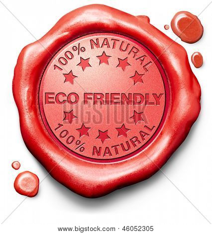 eco friendly 100% natural bio degradable sustainable energy ecological red stamp label or icon