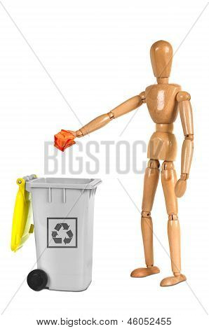 Wooden Dummy Putting Paper In Container