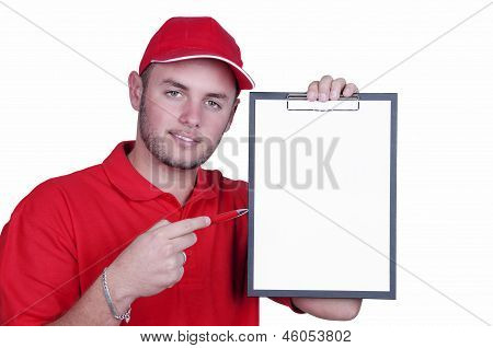Delivery Man With A Tablet
