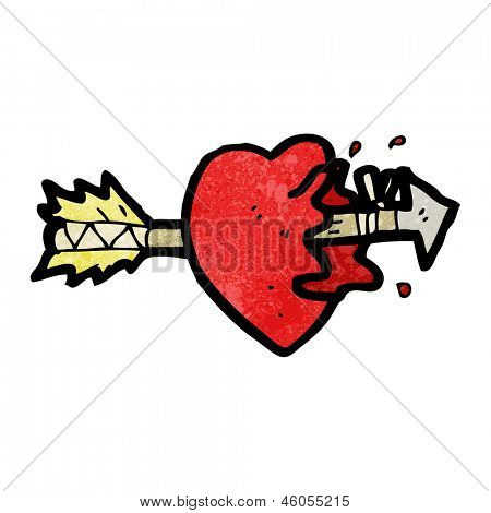 cartoon arrow struck heart