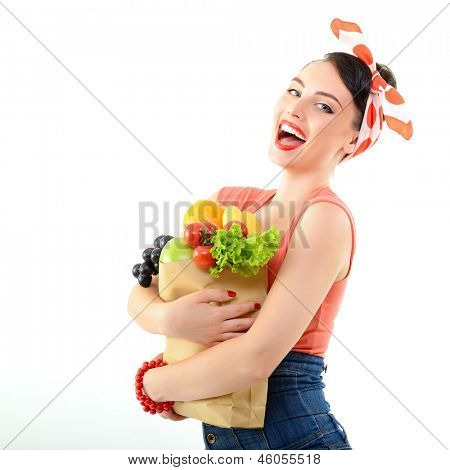 Pinup girl with food bag, portrait of young happy sexy woman in pin-up style, over white