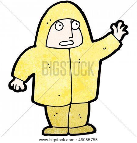 cartoon man in raincoat waving