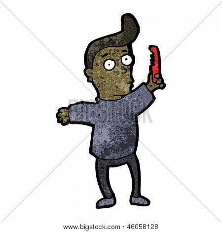 cartoon man combing hair