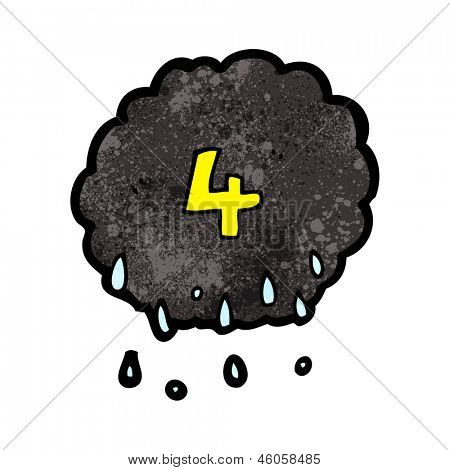 cartoon raincloud with number four