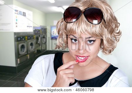 Beautiful Girl In A Laundry