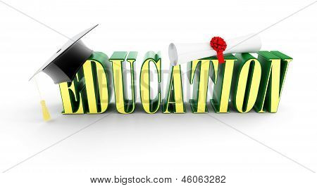 Education And Graduation Cap On A White Background