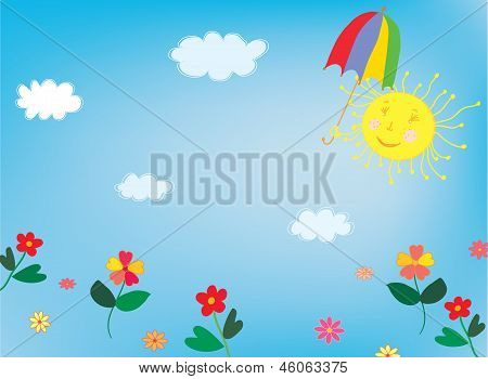 Sun and sky background for children