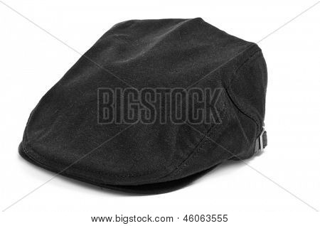 a black flat cap on a white background