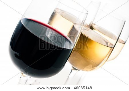 Wine-tasting, A Few Glasses Of Red And White Wine