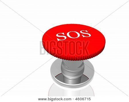 """Botón rojo con la inscripción """"Sos"""" aislado en fondo blanco"""